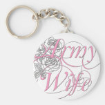 Army wife rose basic round button key ring
