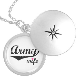 Army Wife Round Locket Necklace