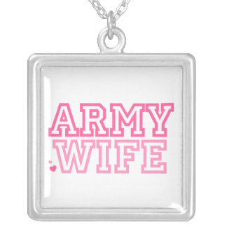 Army Wife Square Pendant Necklace