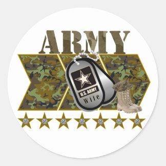 army wife classic round sticker