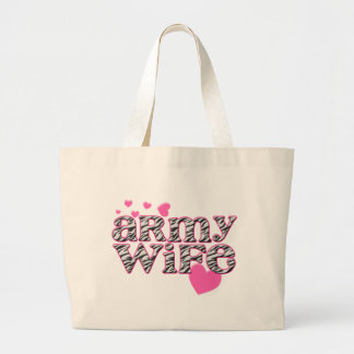Army Wife [zebra print] Large Tote Bag