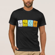 Shirt featuring the name Arnaud spelled out in symbols of the chemical elements