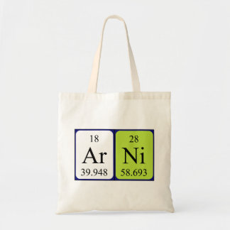 Arni periodic table name tote bag