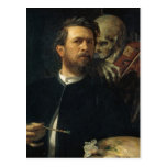 Arnold Böcklin - Self-Portrait with Death Postcard