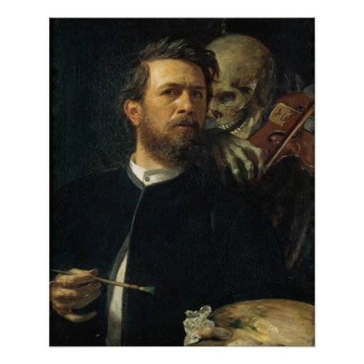 Arnold Böcklin - Self-Portrait with Death Poster