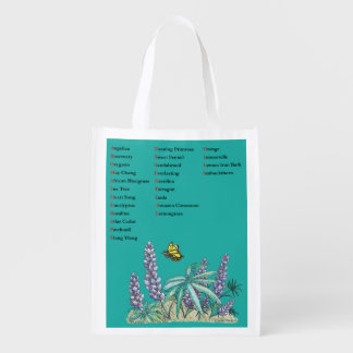 Aromatherapy Essential Oils Flower Butterfly Print Reusable Grocery Bag