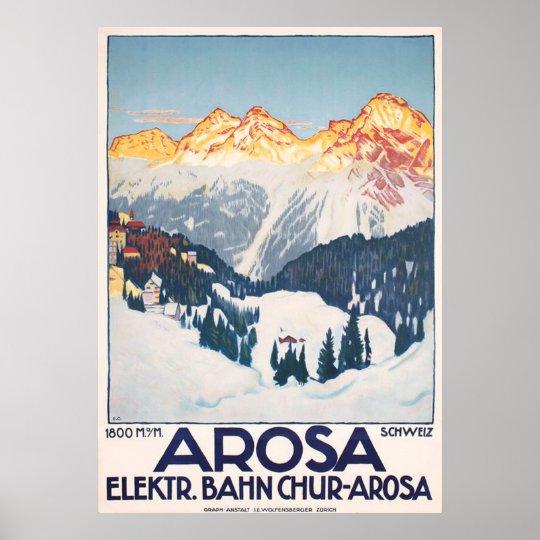 Arosa Mountains Switzerland Travel Vintage Poster