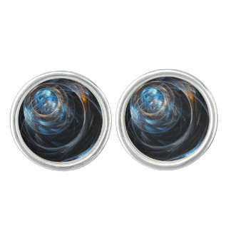 Around the World Abstract Art Silver Plated Cufflinks