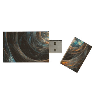 Around the World Abstract Art Wood USB Flash Drive
