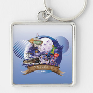Around The World Colorful Poster Illustration Silver-Colored Square Keychain