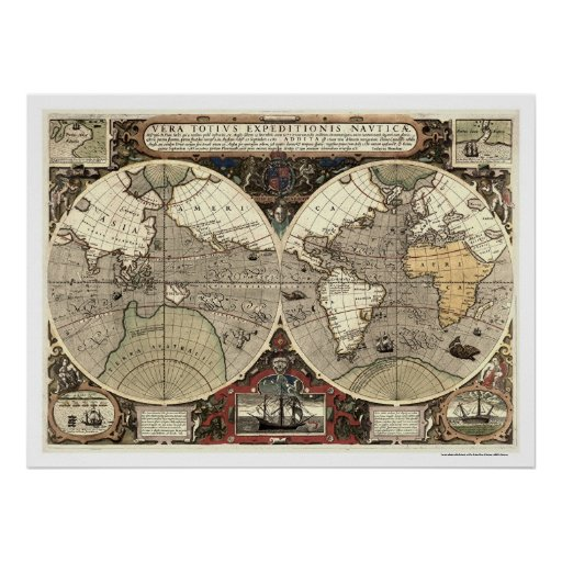 Around the World Drake Map - 1595 Poster