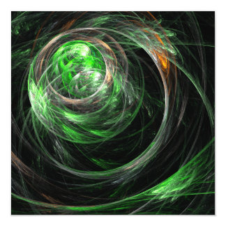 Around the World Green Abstract Art 13 Cm X 13 Cm Square Invitation Card