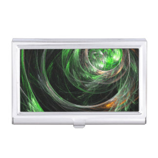 Around the World Green Abstract Art Business Card Holder