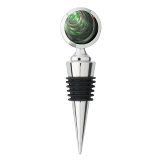 Around the World Green Abstract Art Chrome Wine Stopper