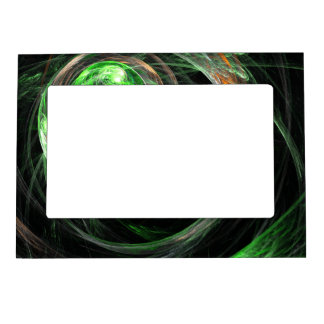 Around the World Green Abstract Art Magnetic Picture Frame