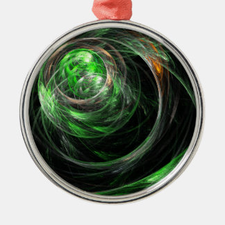 Around the World Green Abstract Art Round Christmas Ornament
