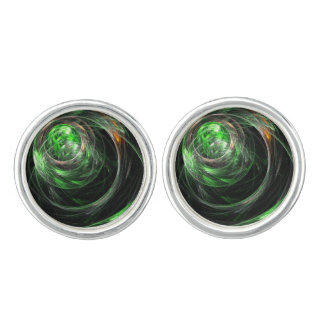 Around the World Green Abstract Art Silver Plated Cuff Links