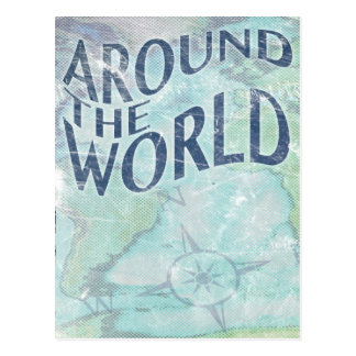 around the world : passport page postcard