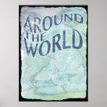 around the world : passport page poster