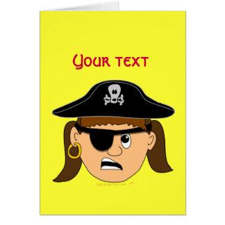 Arr Pirate Girl Cute Customizable Kid Pirate Stuff Greeting Cards