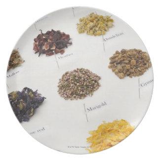 Arranged herbs plate