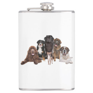 Array of Dogs Background Hip Flask