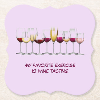 Array of Wine Glasses Paper Coaster