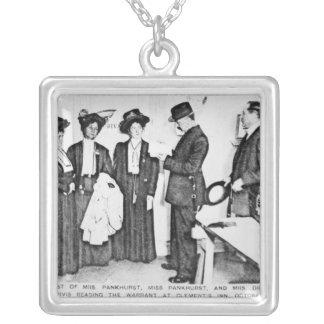 Arrest of Mrs Pankhurst Silver Plated Necklace