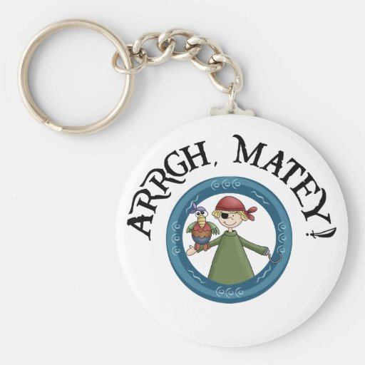 Arrgh Matey Pirate And Parrot Keychain Keychain