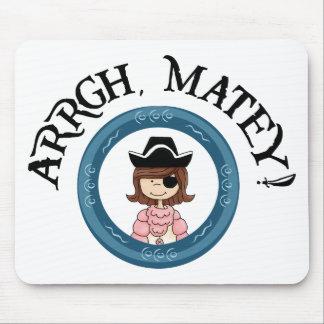 Arrgh Matey Pirate Girl Mouse Pad Mousepads