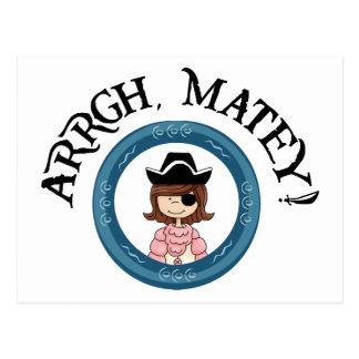 Arrgh Matey Pirate Girl Postcard Postcards