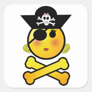 ARRGH! Smiley - Girl  Emoticon Pirate Square Sticker