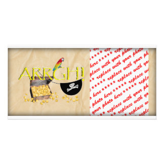 ARRGH! With Pirate Treasure, Parrot & Eye Patch Customised Photo Card