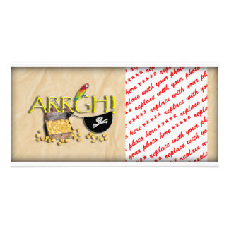 ARRGH! With Pirate Treasure, Parrot & Eye Patch Customized Photo Card
