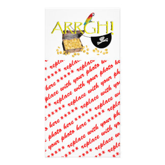 ARRGH! With Pirate Treasure, Parrot & Eye Patch Photo Cards