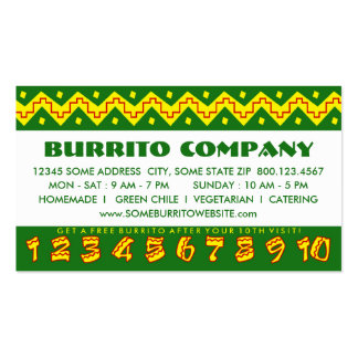 arriba buritto (loyalty punch card) pack of standard business cards