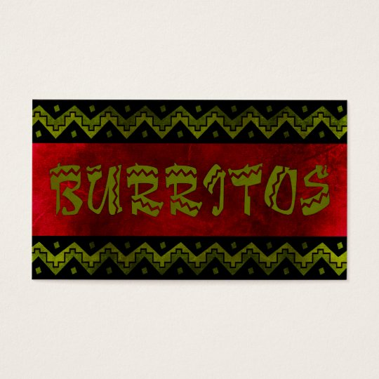 arriba burittos (loyalty punch card) business card