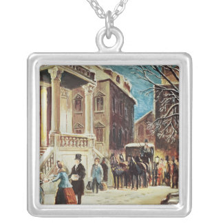 Arrival at the Christmas Party Silver Plated Necklace