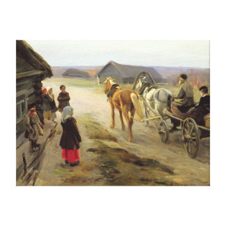 Arrival of a School-Mistress in the Country Canvas Print