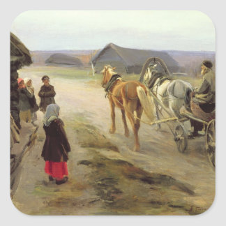 Arrival of a School-Mistress in the Country Square Sticker