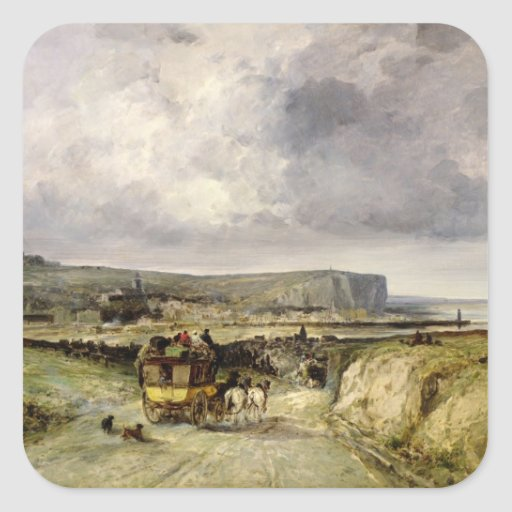 Arrival of a Stagecoach at Treport, 1878 Square Stickers