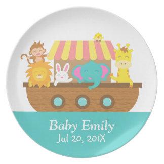 Arrival of Baby, Cute Animals on Noah's Ark Dinner Plates