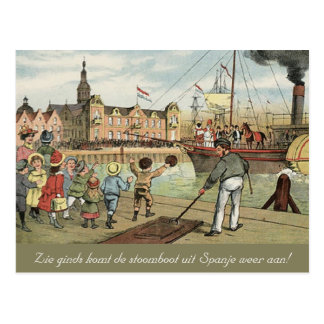 Arrival of Sinterklaas Dutch St. Nick Vintage Postcard