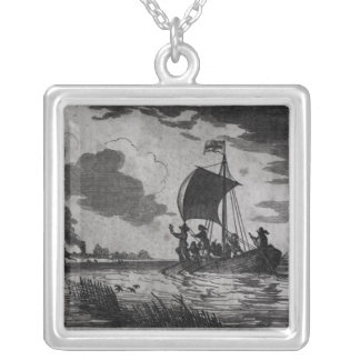 Arrival of the English at Roanoke Silver Plated Necklace