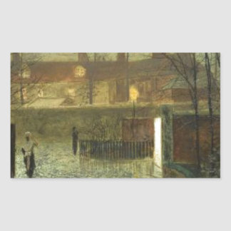 Arriving in the hall by John Atkinson Grimshaw Rectangular Sticker