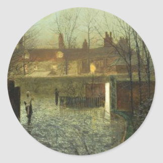 Arriving in the hall by John Atkinson Grimshaw Round Sticker