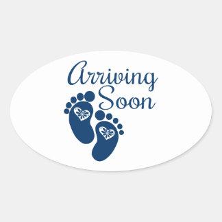 Arriving Soon Oval Sticker