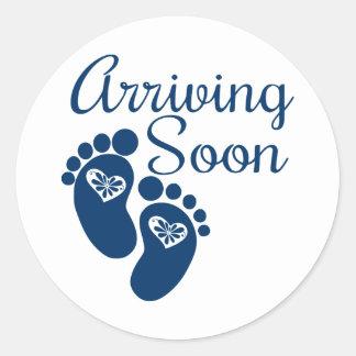 Arriving Soon Round Sticker