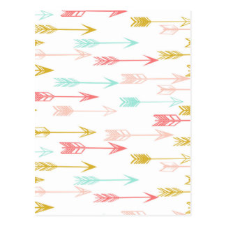 Arrow Coral Pink Mint Yellow / Andrea Lauren Postcard