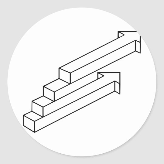 Arrow or Stairs Optical Illusion Classic Round Sticker